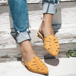 Shoes - Womens sandals mustard suede mules